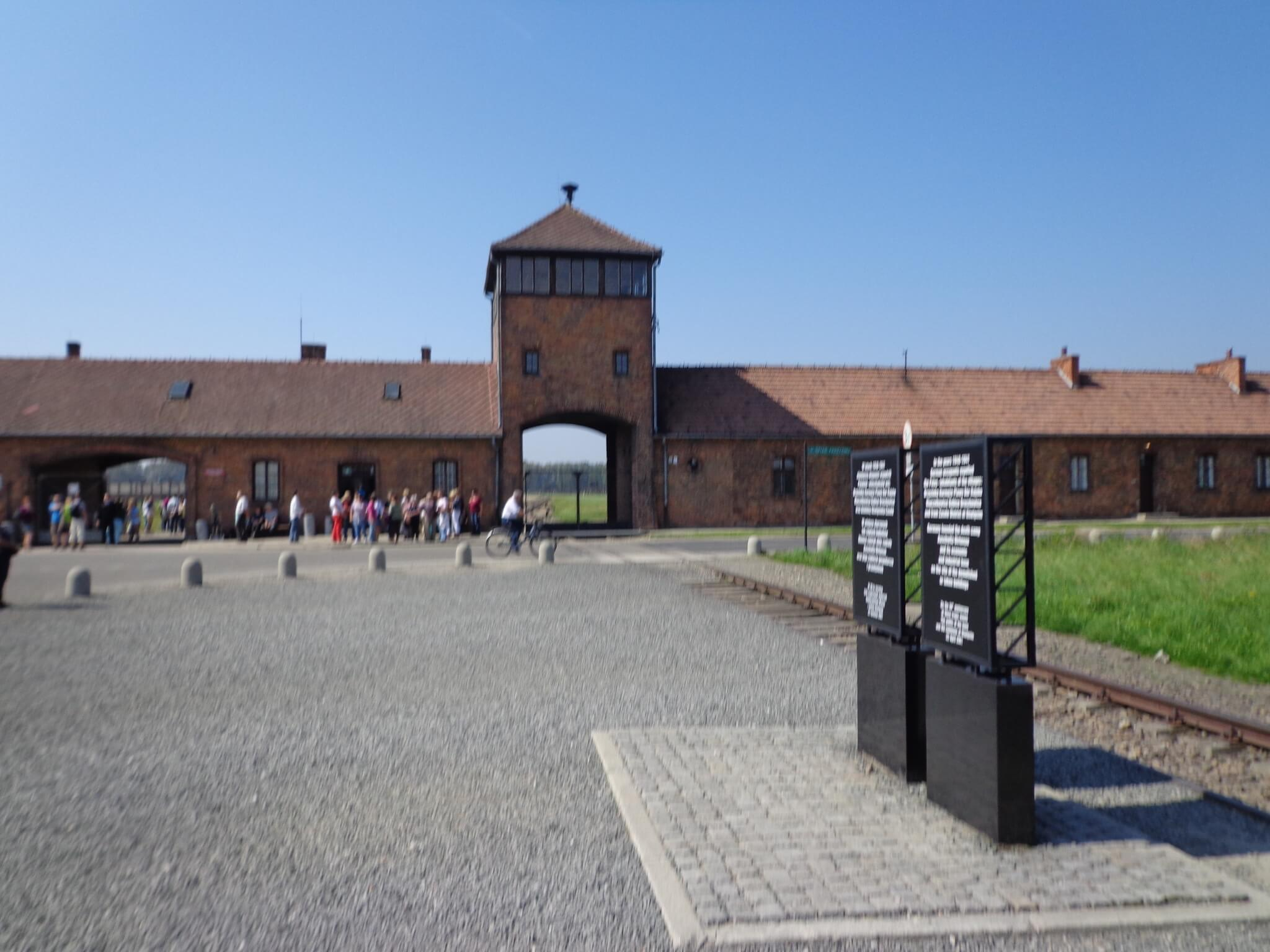 Birkenau, the iconic main building, photo by Scott Roth