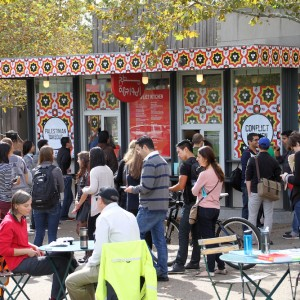 A typical lunch-time line at the Conflict Kitchen. (Photo courtesy of Conflict Kitchen)
