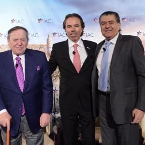 Sheldon Adelson, left, and Haim Saban flank Israeli-America Council Chairman Shawn Evenhaim at the IAC conference in D.C. (Photo: Shahar Azran)