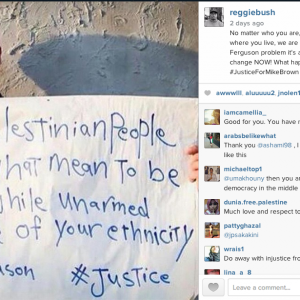 Screenshot: NFL's Reggie Bush posts Ferguson/Palestine solidarity photo of Palestinian activist Hamde AbuRahma from Bil'in on Instagram