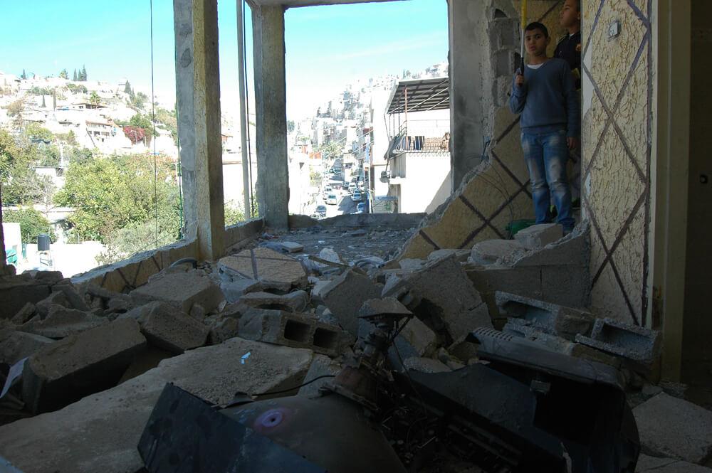 Home of Abdel Rahman al-Shaludi, the Jerusalem motorist from the October 22, 2014 light rail attack in Jerusalem, demolished by Israeli authorities early Wednesday morning, in the Silwan neighborhood of East Jerusalem (Photo: Allison Deger)
