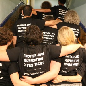 Part of the Jewish Voice for Peace delegation at the 221st Presbyterian General Assembly in Detroit who worked in solidarity with Presbyterian groups on divestment from companies profiting off the Israeli occupation.