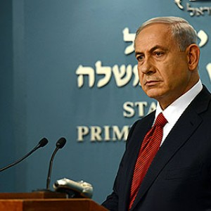 Netanyahu at his news conference yesterday, from Israeli government press office