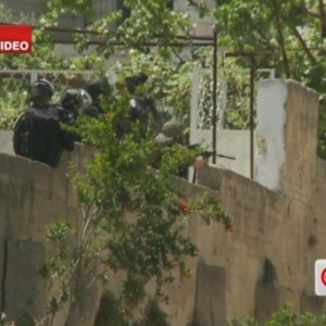 CNN footage of Israeli soldier firing at Nadim Nuwara during the Nakba Day protest. (Screenshot: Electronic Intifada)