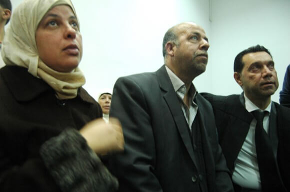 Parents of Mohammed Abu Khdeir, Jerusalem District Court, November 17, 2014. (Photo: Allison Deger)