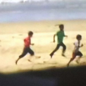 An image of three Palestinian children running along the beach to escape Israeli fire before they were killed. This is one of the cases the Israeli military will be investigating. (Image: Twitter)