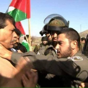 Image of Palestinian Minister Zaid Abu Ein being confronted by Israeli forces. (Image: Sky News via Yousef Munayyer)