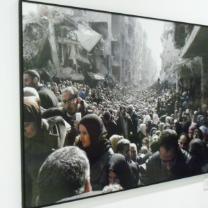 Photo of Palestinian refugees at UN solidarity exhibit, photographer unknown