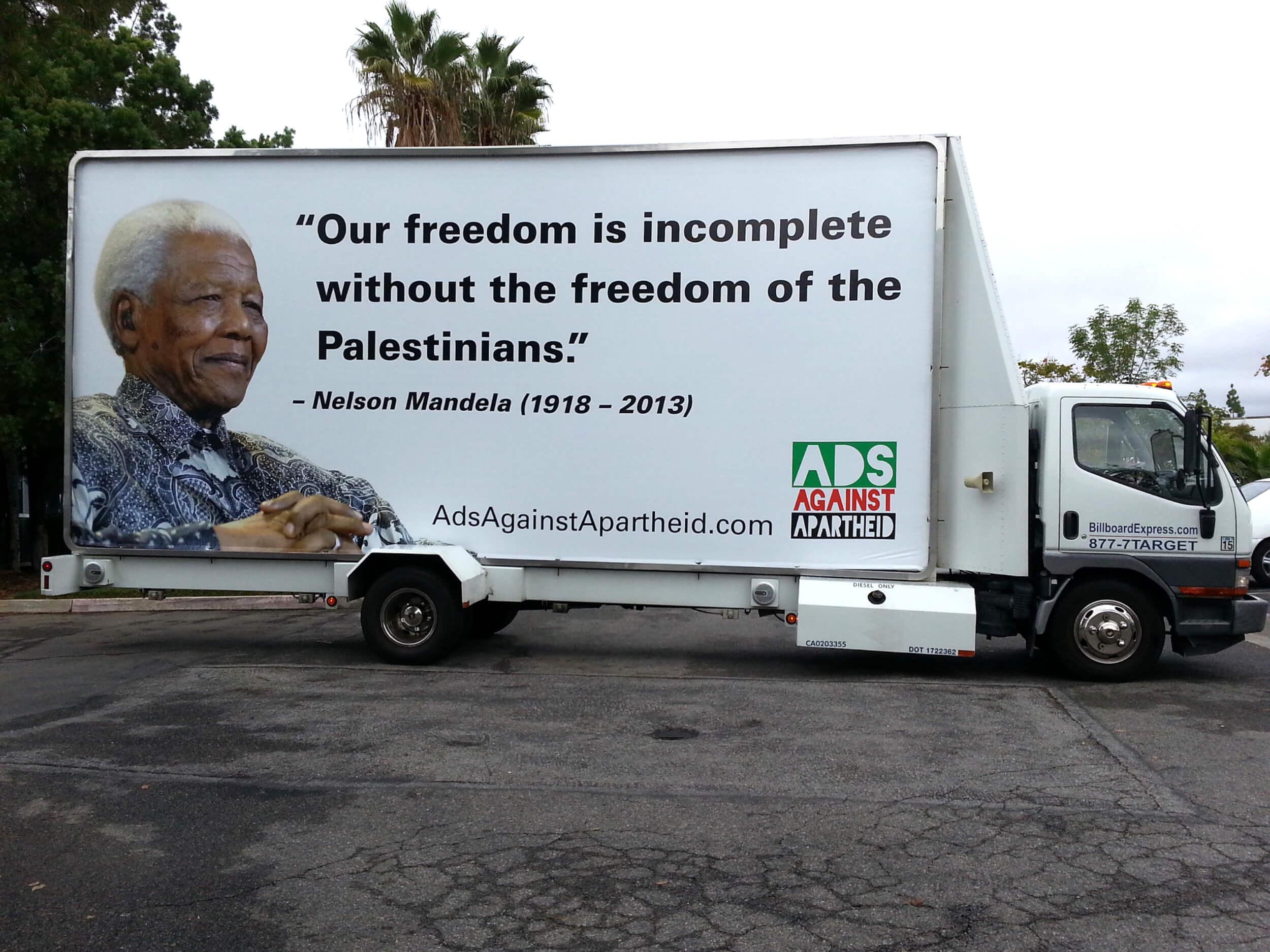 Ads Against Apartheid's Mandela campaign in Los Angeles (photo: Jeff Warner)