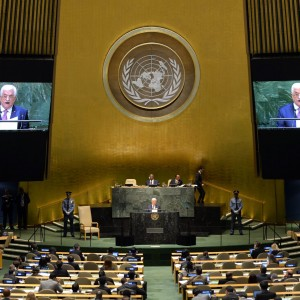 Mahmoud Abbas addresses the 69th Session of the UN General Assembly, September 26, 2014, NYC. (Photo: AFP/ Timothy A. Clary)