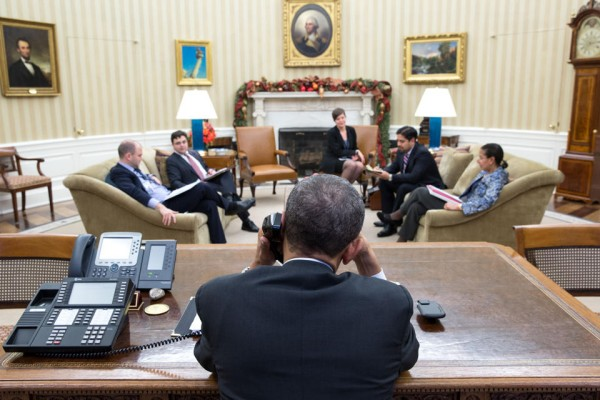 President Obama calling Raoul Castro on Dec. 16, photo by Pete Souza