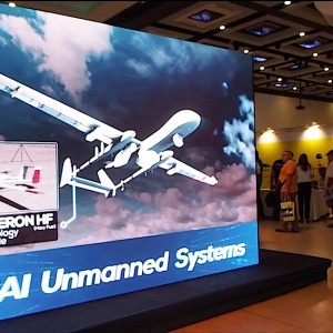 "An advertisement at the ""Israel Unmanned Systems 2014"" conference. (Image: Dan Cohen)"