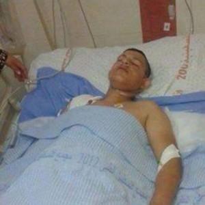 Bassel Kamel Safi, 17, from Deir 'Ammar refugee camp, after being shot in abdomen. Photo by Ramallah Today