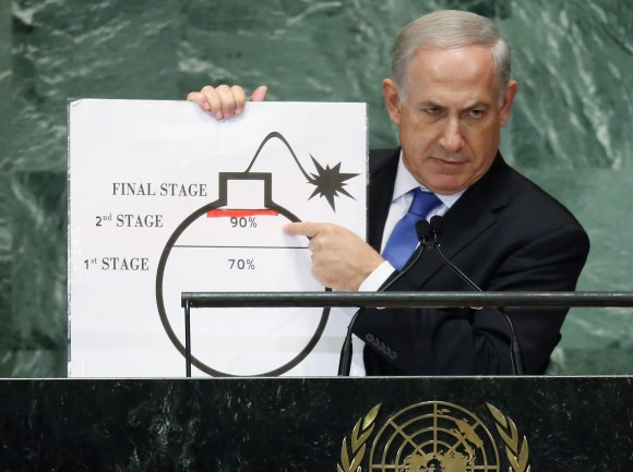 Netanyahu with prop at UN GA, 2012, Mario Tama, Getty Images