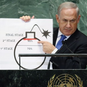 Netanyahu with prop at UN GA, 2012, Mario Tama, Getty Images