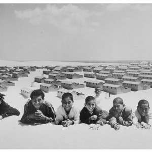 """""""Cement block houses replace tented refugee camp, Khan Younis, Gaza Strip"""" 1955  (Photo/J. Madvo, UNRWA Photo Archives)"""
