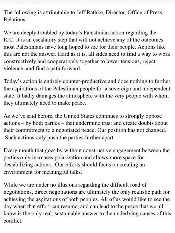 State Department on Palestinian move to join ICC