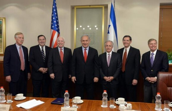 Netanyahu with seven senators in advance of State of Union speech