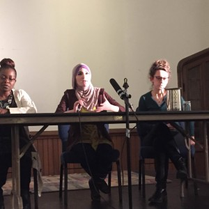 Dr. Robyn Spencer, Linda Sarsour and Beth Miller discuss the connections of militarized policing between the US and Israel. (Photo: Brandon Davis)
