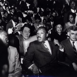 Martin Luther King in Memphis supporting striking sanitation workers, 1968. AFSCME president Jerry Wurf at right.