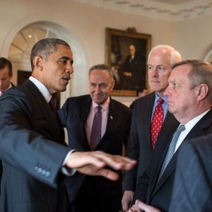Obama meeting a bipartisan group of senators at the White House on Jan. 13, photo by Pete Souza