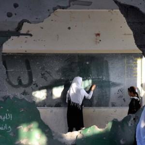 Gaza school attacked by Israel, 2014.