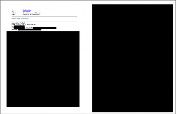 """This investigation found no evidence…"": A sample of a redacted email from a FOIA request for documents pertaining to Steven Salaita."