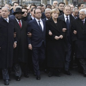 From the left : Israel's Prime Minister Benjamin Netanyahu, Mali's President Ibrahim Boubacar Keita, France's President Francois Hollande, Germany's Chancellor Angela Merkel, EU President Donald Tusk, and Palestinian President Mahmoud Abbas march during a rally in Paris, France, Sunday, Jan. 11, 2015. (Photo: AP/Philippe Wojazer, Pool)