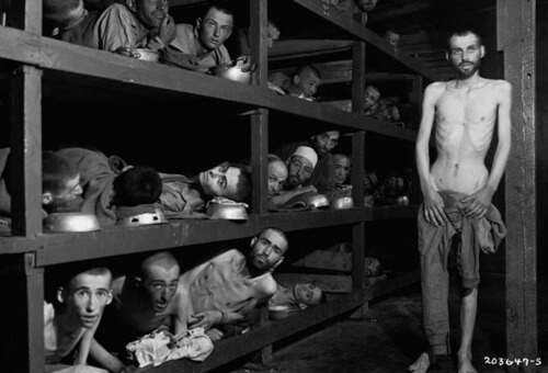 Survivors at Buchenwald. Elie Wiesel is 2nd bunk up, 7th face from the left, beside post