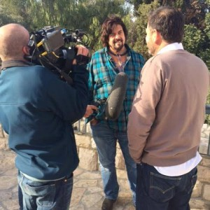 Alan Parsons does a TV interview in Jerusalem, Feb. 10