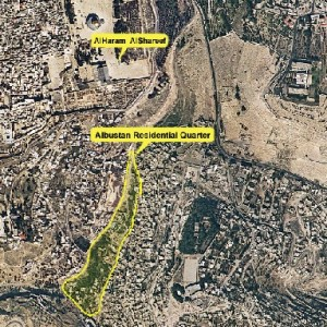 Silwan aerial photo showing proximity of Bustan to the Old City