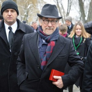 Spielberg at Auschwitz on January 27, photo by Alik Keplicz, AP