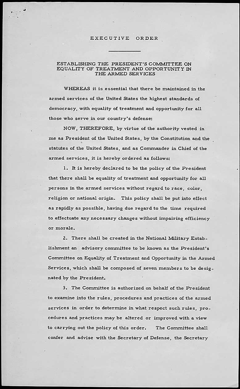 Truman's executive order in 1948, desegregating the army
