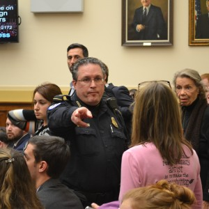 Code Pink organizer Medea Benjamin is asked to leave by Capitol Police after Ros-Lehtinen orders the hearing room cleared. (Photo: Sam Knight)