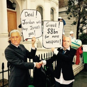 Activists outside the Jordanian Embassy in London protest the Israel-Jordan gas deal.