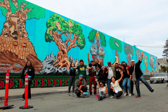 Oakland Palestine Solidarity Mural with Artists and Volunteers (photo: Art Forces)