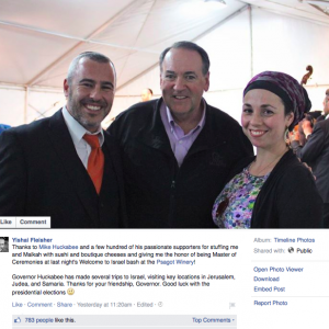 Screenshot from Yishai Fleisher's Facebook page.