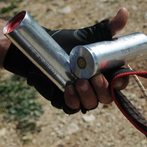 Tear gas canisters collected at the end of Bil'in's tenth anniversary protest, February 27, 2015. (Photo: Allison Deger)