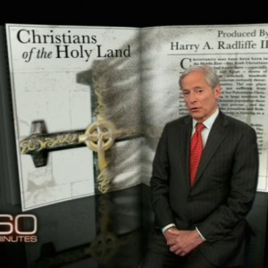 "A screenshot from Bob Simon's '60 Minutes' story ""Christians in the Holy Land."""