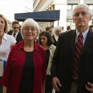 The family of Rachel Corrie arrive at an Israeli court before hearing the verdict in her civil suit in August 2012. (Photo: Getty Images)