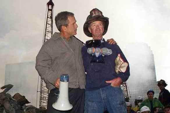 Bullshit, with bullhorn: Bush in New York City, September 14, 2001.