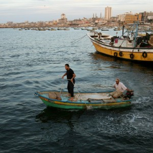 Fishermen off the coast of Gaza.