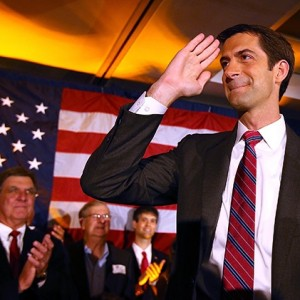 Cotton saluted supporters in Little Rock last fall