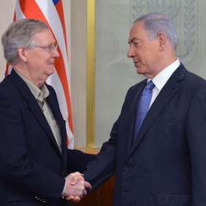 Prime Minister Benjamin Netanyahu meets with Mitch McConnell, in Jerusalem on Sunday. (Kobi Gideon/GPO)