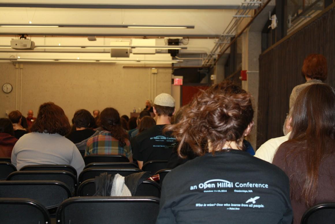 Open Hillel members listen to activist Dorothy Zellner speak at the Open Hillel conference. (Photo: Alex Kane)
