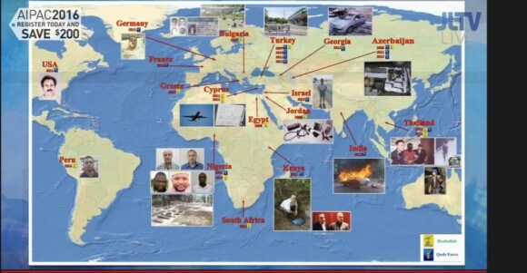 """Netanyahu prop map allegedly showing Iranian support for terrorism around the world. Netanyahu referred to it as Iran's """"tentacles of terror."""" (Screenshot: JLTV)"""