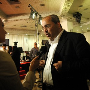 Knesset member Ahmad Tibi and Joint Arab List Knesset-elect Ahmad Tibi speaks to press after election results are announced in Nazareth, Israel, Tuesday, March 17, 2015. (Photo: Allison Deger)