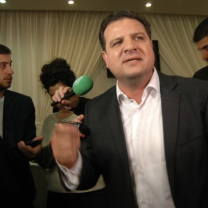 Joint Arab List head Ayman Odeh speaks with press during an election results event in Nazareth, Israel, Tuesday, March 17, 2015. (Photo: Allison Deger)