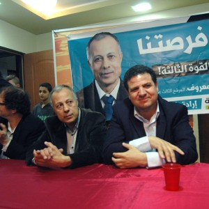 Ayman Odeh (R) at a campaign event in Yirka, a Druze village in the Galilee in northern Israel, Friday March 13, 2015. (Photo: Allison Deger)
