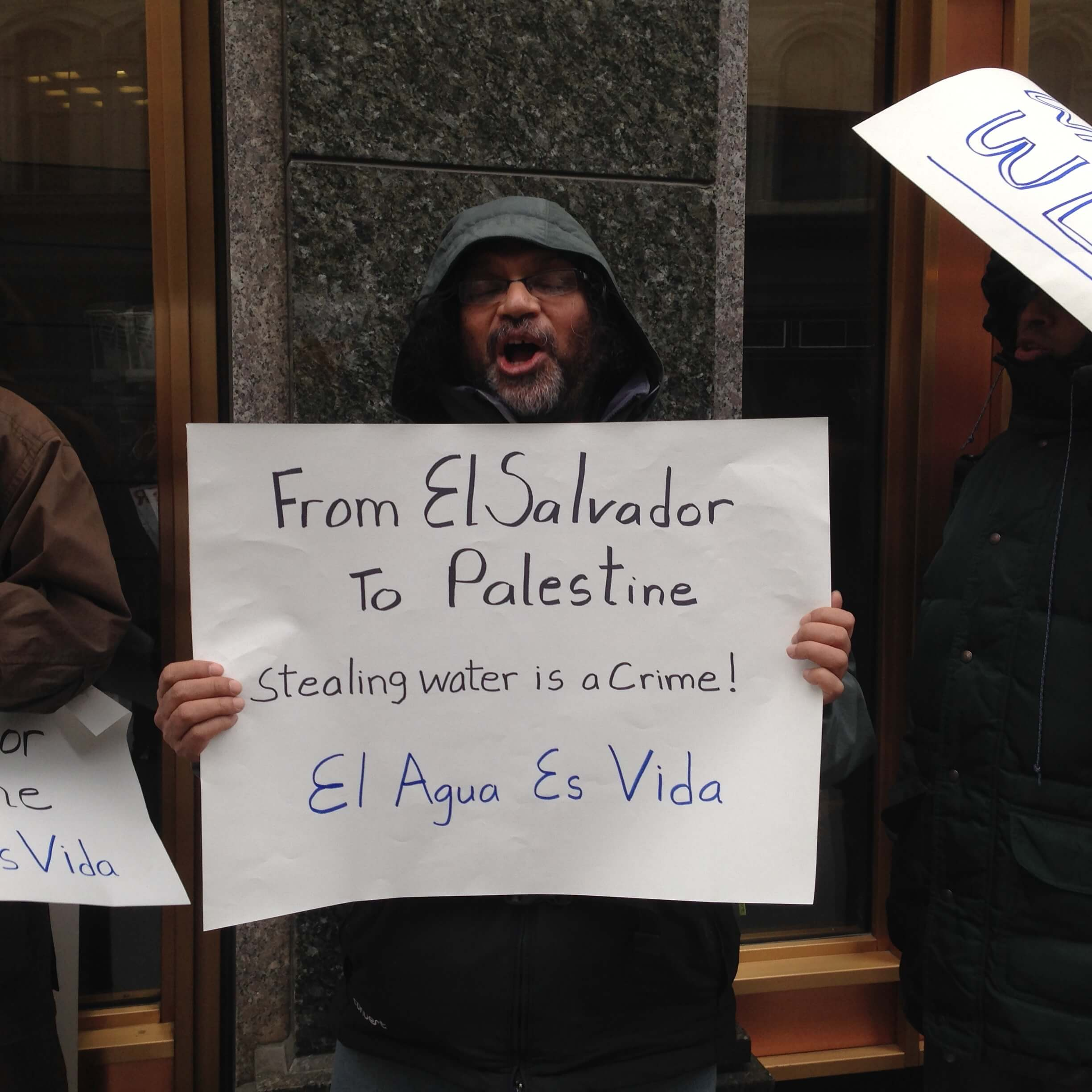 Demonstration outside the MassCEC office, where the Massachusetts-Israel Water Partnership is housed.